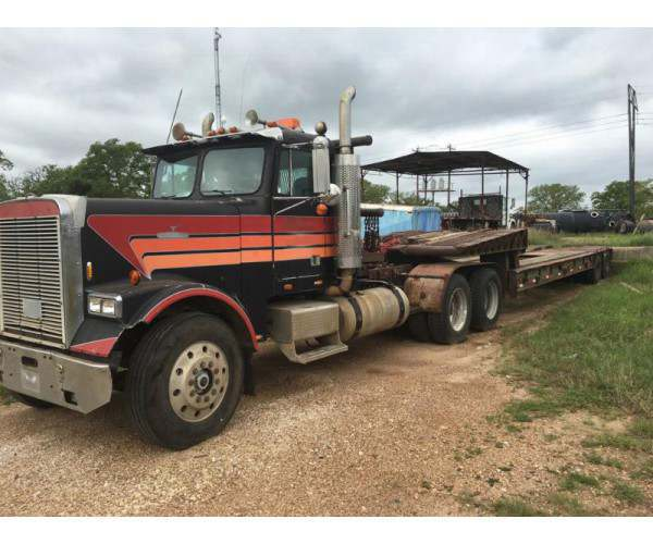 1985 Freightliner FLD + 34 winch Martin HD Fold Neck Trailer in Texas, wholesale, ncl truck sales